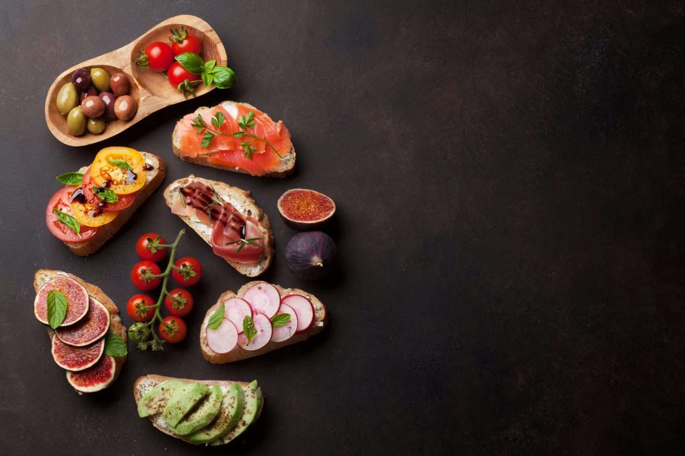 Brushetta or traditional spanish tapas. Appetizers italian antipasti snacks set. Top view and flat lay with space for your text